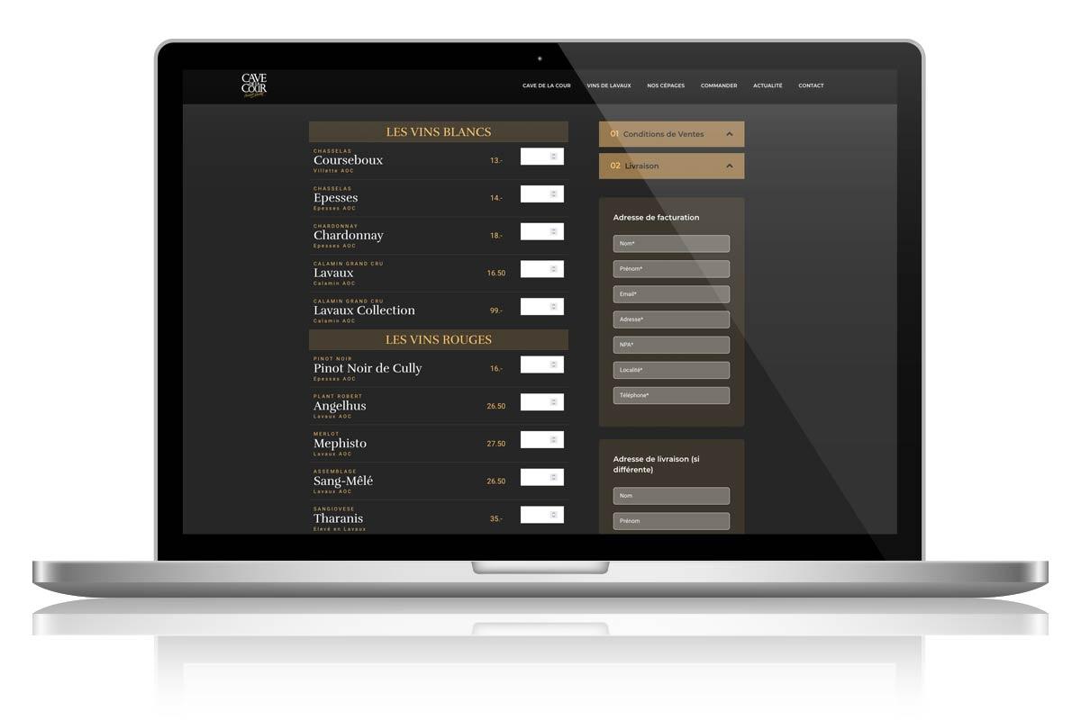 Création du Site Internet de la Cave de la Cour à Cully par Seeaytch Creative à Pully
