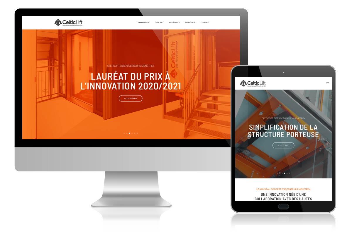 Creation pour l'agence Publitec d'un site internet pour son client Celtic-Lift (Menétrey Acenseurs)