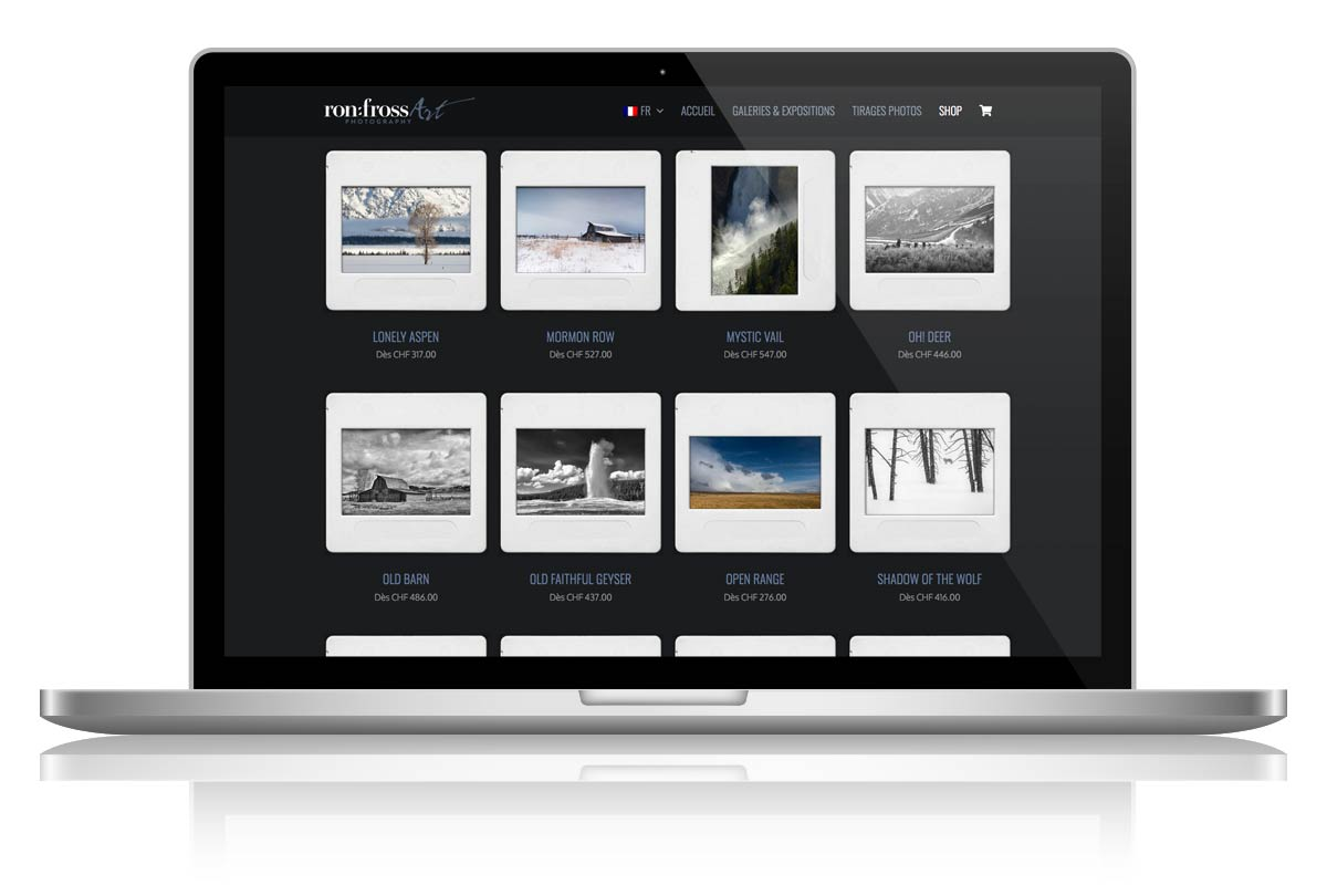 Création du Site Internet RonFross Photography par l'agence Seeaytch Creative à Pully
