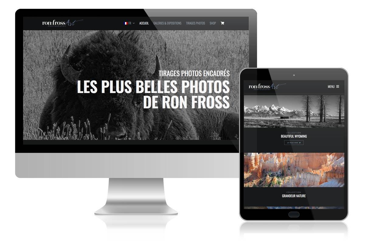 Création de la boutique online de RonFross Photography, la vente de tirages originaux encadrés